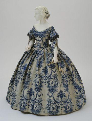 1850 1855 dress of jacquard woven silk moirc3a9 taffeta via philadelphia museum of art 9f781