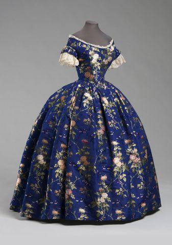 1850 blue silk brocade dress via philadelphia museum of art 4e82b