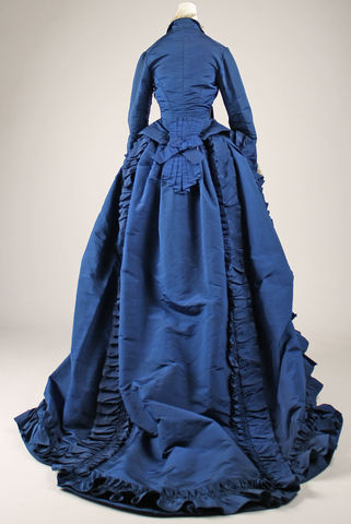 1870 french silk dress back view met museum 5251c