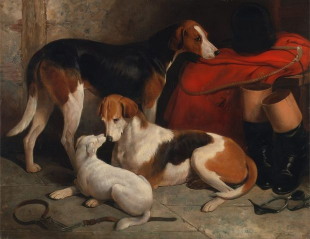 a couple of foxhounds with a terrier the property of lord henry bentinck by william barraud 1845 768x594 04fb5