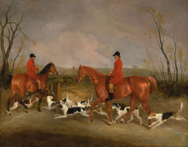 george mountford huntsman to the quorn and w derry whipper in at john ogaunts gorse near melton mowbray by richard barrett davis 1836 768x599 df751