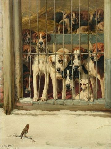 hounds in a kennel by william henry hamilton trood 19th century 9f8c7