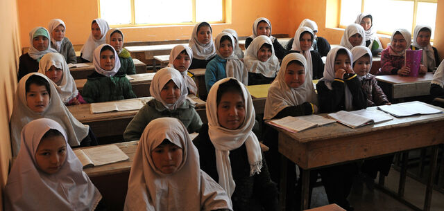 Young Afghan girls inside the classroom of Aliabad School 2012 6558d
