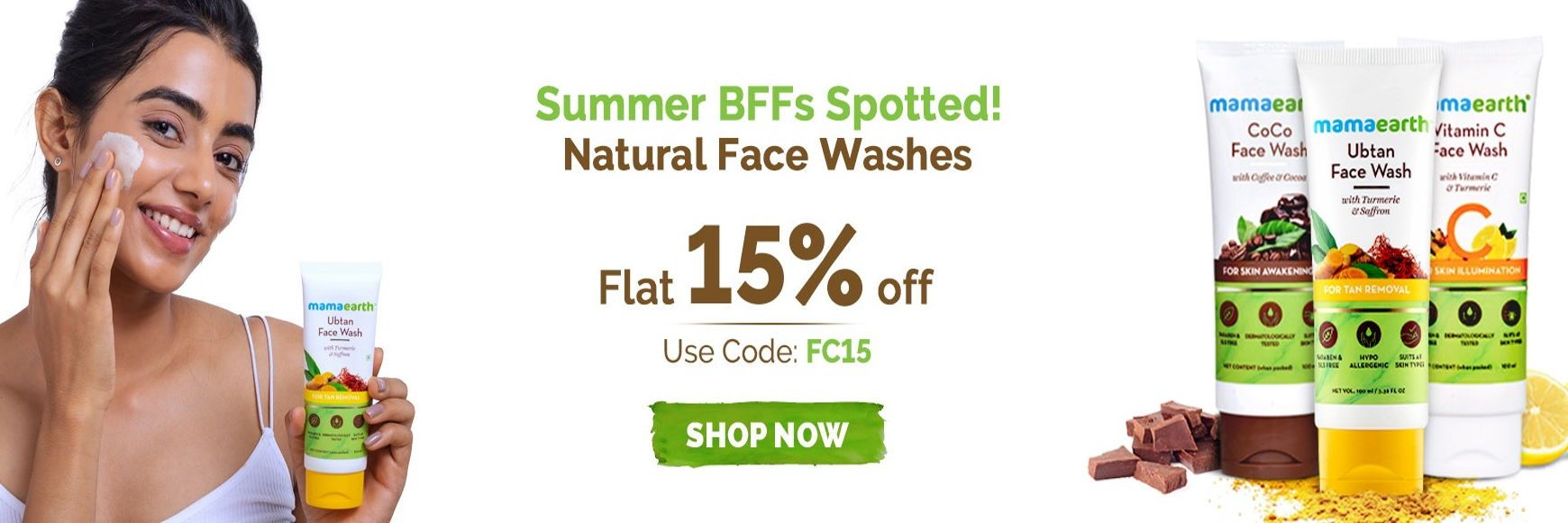 Get Flat 15% OFF on Natural Face Washes