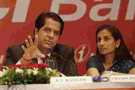 Chanda Kochhar (CFO and Joint MD) with then CEO and Managing Director KV Kamath