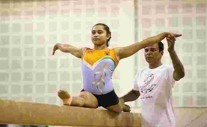 Dipa Karmakar preparing for the Rio Olympics with her coach, Bisweshwar Nandi (2016)