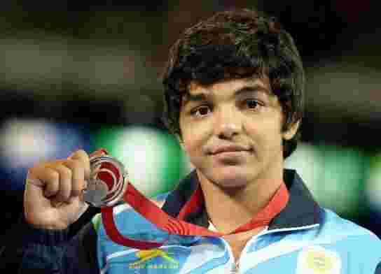 Sakshi Malik after winning the Silver medal for Wrestling at the 2014 Commonwealth Games in Glasgow
