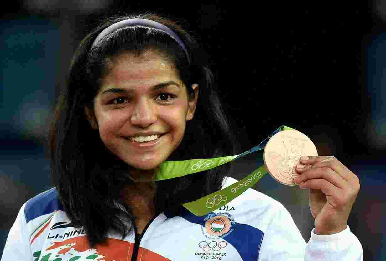 Sakshi Malik after winning the Bronze medal at the 2016 Summer Olympics in Rio for Wrestling