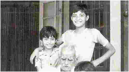 Arnab Goswami (R) during his childhood years