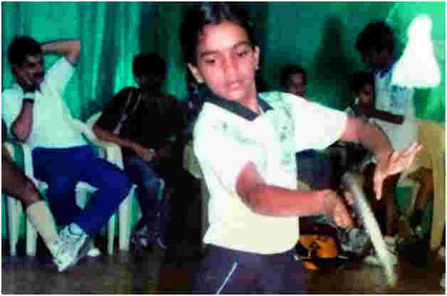 A young Sindhu practising at the GHMC Guru Gobind Singh badminton court in Hyderabad (2005)