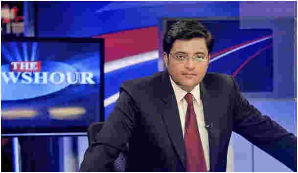 Goswami during The Newshour show on Times Now channel (2016)