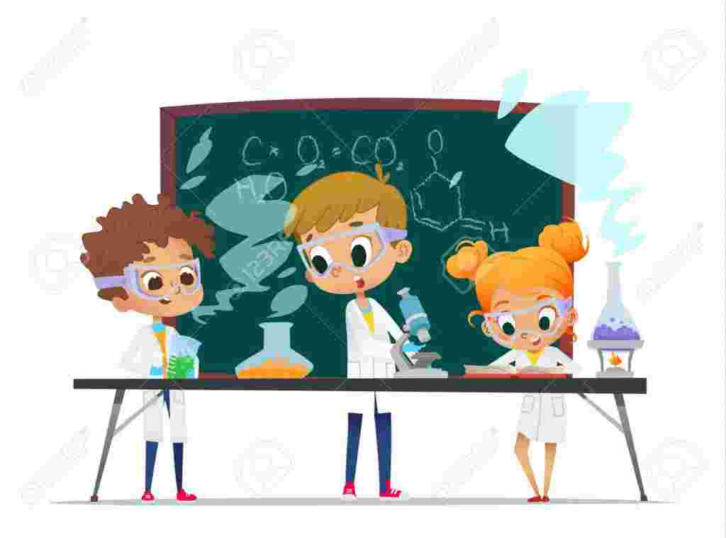 Curios Minds, Funny Little Girl Doing Experiments In The Laboratory Explosion In The Laboratory Science And Education