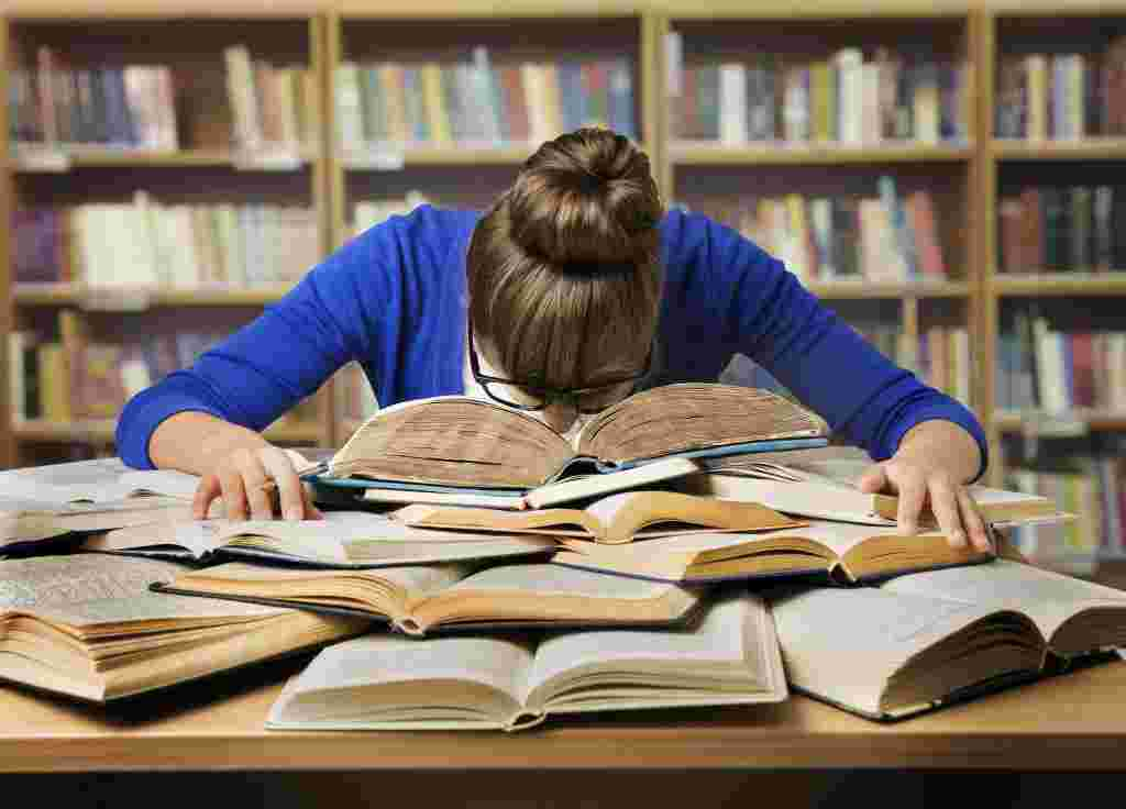 Student studying, Tired Girl Read Book, Library, Coordination between brain & boby