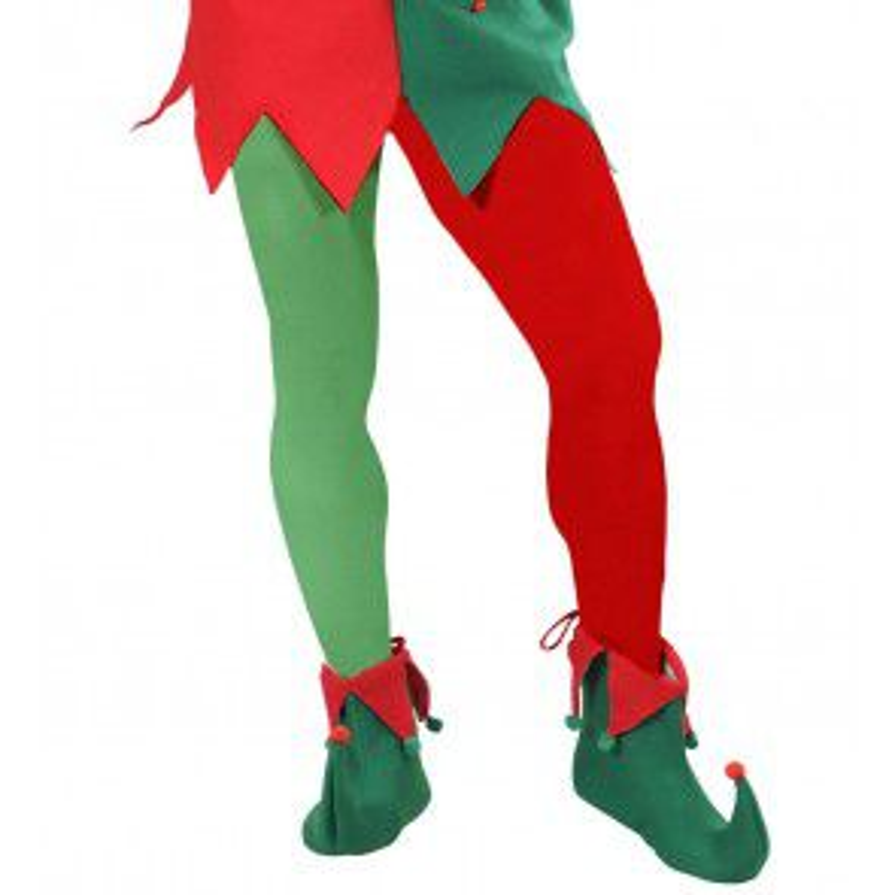 Panty meerkleurig, rood/groen xl