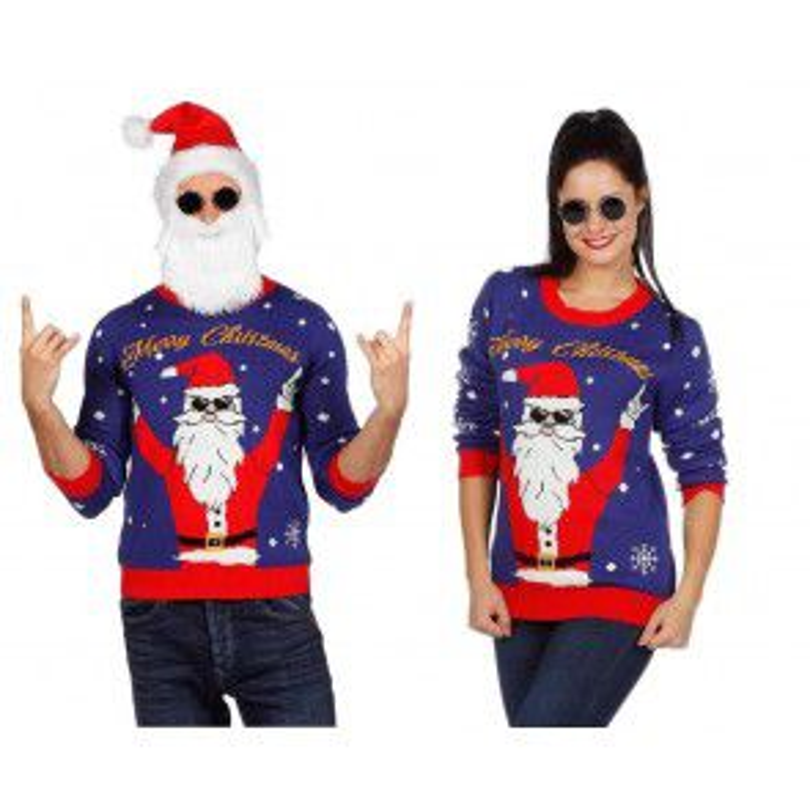 Kersttrui blauw rocking Santa Maat L