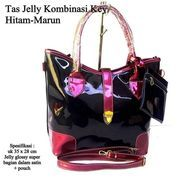 tas wanita casual kombinasi jelly key tali panjang hitam marun (10042971) di Kota Bekasi
