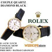 JAM TANGAN COUPLE KULIT CROCO ROLEX DIAMOND TANGGAL AKTIF HITAM (10044257) di Kota Bekasi