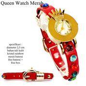 jam tangan wanita kulit queen glamour leather merah full set (10044439) di Kota Bekasi