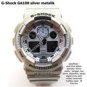 jam casio g shock digital dual time ga 100 metalik full SILVER super (10044447) di Kota Bekasi