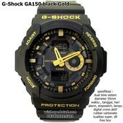jam casio g shock digital dual time ga 150 HITAM GOLD SUPER (10044515) di Kota Bekasi