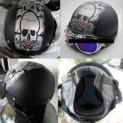 Helm Goggles Black Grey Half Face
