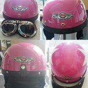 Helm Goggles Black Pink Half Face (10305839) di Kota Bogor