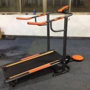 Alat fitness Treadmill Manual 2 fungsi orange Hand pulse