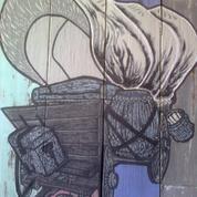 Lukisan Gerobak Kuda (Hand Painted Original),Media Kayu Utk Dekorasi Hotel & Cafe