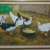 Lukisan Karya Sholeh Tema Kumpulan Bebek Sedang Makan
