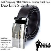 Ikat Pinggang Impor / Belt / Sabuk / Gesper Kulit Bos Brown Duo Line Side (14095765) di Kota Jakarta Timur