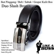 Ikat Pinggang Impor / Belt / Sabuk / Gesper Kulit Bos Brown Duo Slash (14095797) di Kota Jakarta Timur