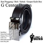 Ikat Pinggang Impor / Belt / Sabuk / Gesper Kulit Bos Brown G Center (14095839) di Kota Jakarta Timur
