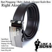 Ikat Pinggang Impor / Belt / Sabuk / Gesper Kulit Bos Brown Right Aksen (14095857) di Kota Jakarta Timur
