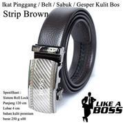 Ikat Pinggang Impor / Belt / Sabuk / Gesper Kulit Bos Brown Strip (14095879) di Kota Jakarta Timur