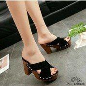 Sepatu Wedges RD 80 Korean Style - BLACK (14113745) di Kota Jakarta Pusat