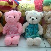 "Boneka Teddy Bear Arsya With Dress Colour Printed Metalik 27"" 70cm SNI"