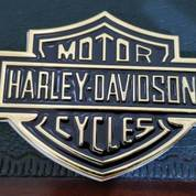 Emblem Gold Metal Harley Logo.(10.7x7.6)