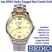 Jam Tangan Stainless SEKO Sarko Tanggal Hari Kombi Gold (15591537) di Kota Jakarta Timur
