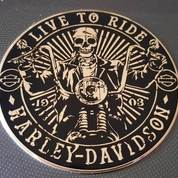 Emblem Live To Ride Harley Golden Aluminium