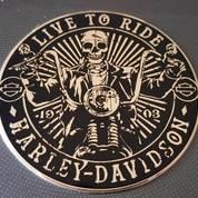 Emblem Live To Ride Harley Golden Aluminium (17104483) di Kota Bogor