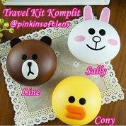 Travel Kit Komplit Sally Cony Dan Line Isi Komplit Dan Praktis Dibawa Bepergian