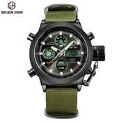 GOLDEN HOUR Black 103 Jam Tangan Sport Military Pria Dual Display