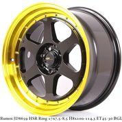 FRED RACING VELEG TIPE JD8659 HSR R17X75/85 H8X100-114,3 ET45/30 BK/GOLDL