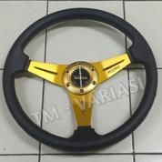 Stir Racing MOMO 14 Inchi Hitam Warna Palang Gold Import (17753211) di Kota Jakarta Pusat