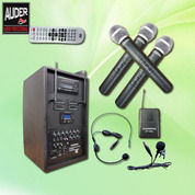 SOUND SYSTEM PORTABLE AMPLIFIER SPEAKER WIRELESS AUDERPRO AP-1284PA (DVD + USB) 4 MIC (17997579) di Kota Jakarta Utara