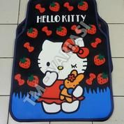 Karpet Mobil Universal Motif Hello Kitty Strawberry Pita Merah Dasar Hitam