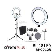 Fotoplus Video Ring Light RL-18 Bi-Color LED Kit Include Light Stand [Complete Set] (18169399) di Kota Surabaya