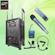 PORTABLE WIRELESS AUDERPRO AP-1282PA (DVD + USB) Paket 1 Mic Genggam + 1 Clip On/Headset (18223395) di Kota Jakarta Utara