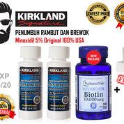 2 Kirkland Minoxidil 5% 60ml & Biotin Puritan's Pride 10000mcg Isi 100 Softgel Original 100% USA (18749471) di Kota Banda Aceh
