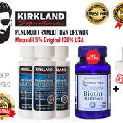 3 Kirkland Minoxidil 5% 60ml & Biotin Puritan's Pride 10000mcg Isi 100 Softgel Original 100% USA (18749555) di Kota Banda Aceh